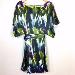 BCBG Kimono Sleeve Watercolor Tie Waist Dress sz M